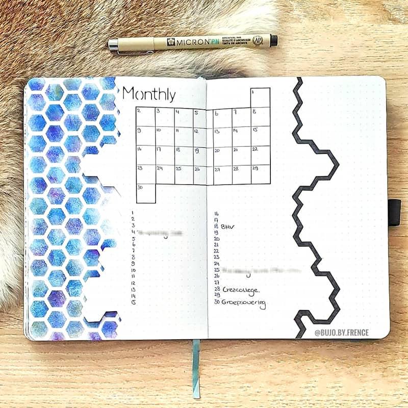 blue honeycomb bullet journal theme