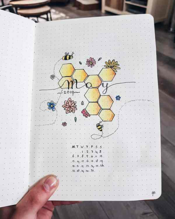 Bee theme cover page bullet journal