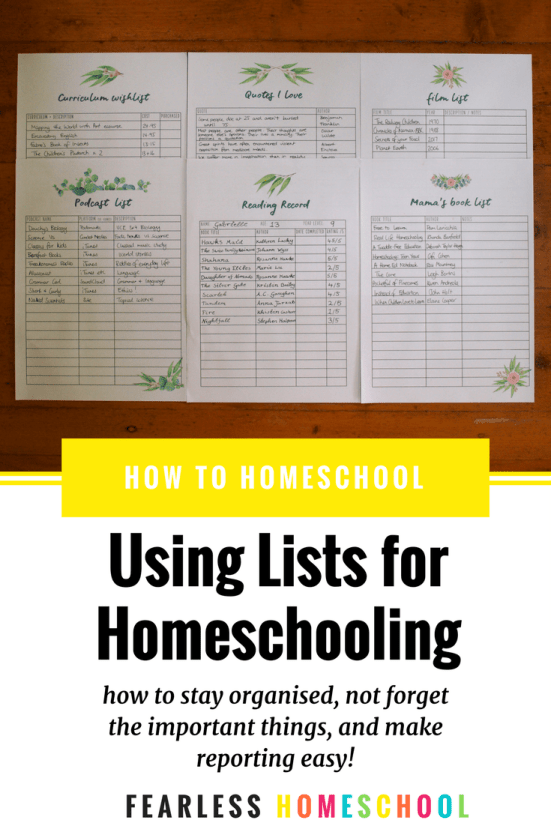 Using Lists in your Homeschool - how to stay organised, not forget the important things, and make reporting easy!