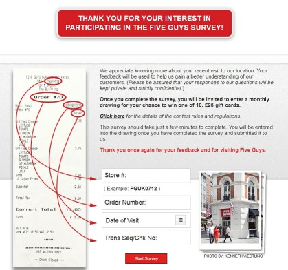 the homepage of five guys uk survey