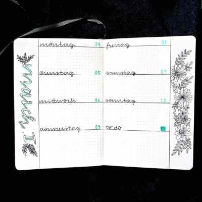 Floral design weekly layout bullet journal spread