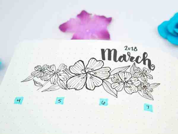 Flower doodles to decorate a bullet journal layout.