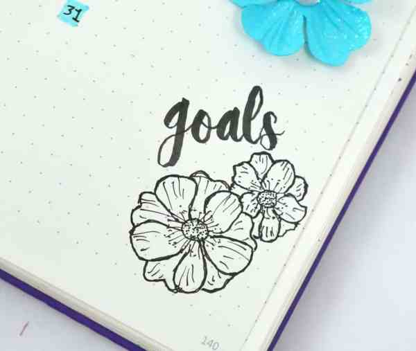 Flower drawing with goals in calligraphy.