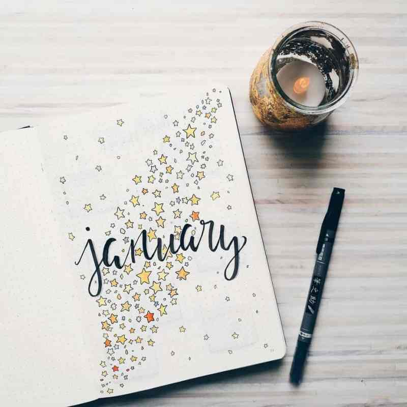 Beautiful cover page from @urbanstationary Love the crisp lettering and the stars for her January cover page. A galaxy theme is another terrific option for any month of the year. #bulletjournal