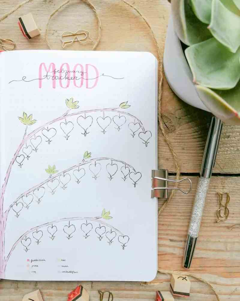 Bullet journal mood tracker with different heart doodles on a tree