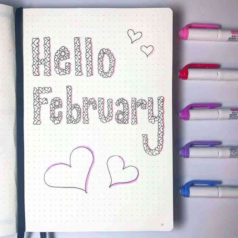Hello February cover page with heart font
