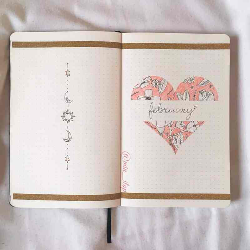 February cover page with heart and flower doodles on the inside