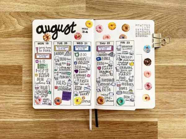 Bullet journal weekly calendar with doughnuts