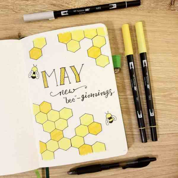 May bullet journal bee theme cover