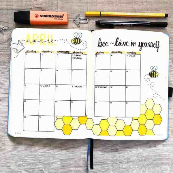 Bee theme monthly spread idea bullet journal