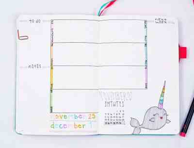 Weekly layout with narwhal cartoon