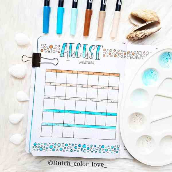 Bullet journaling pros with monthly layout for August