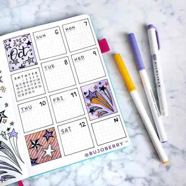 Weekly bullet journal spread with supertips and zebra mildliners