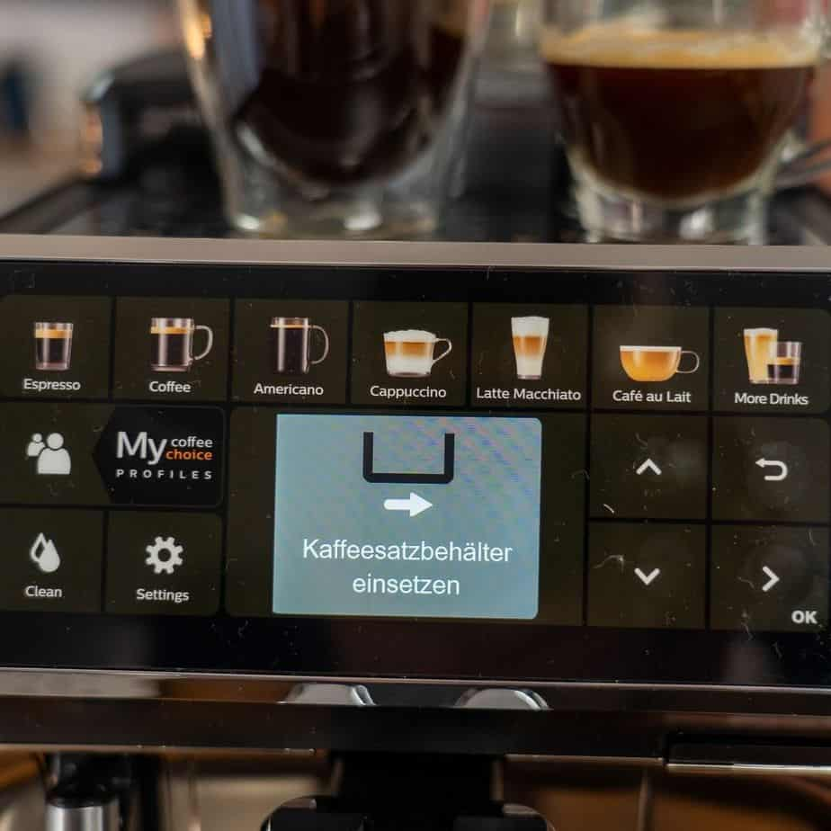 Philips EP5447 90 LatteGo Kaffeevollautomat Display Bedienung