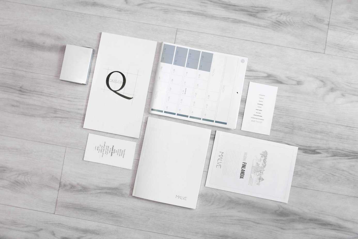 Brand marketing materials business card, calendar, one-sheeter, etc.