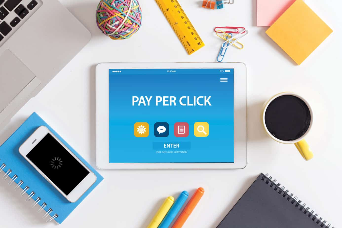 PAY PER CLICK CONCEPT ON TABLET PC SCREEN