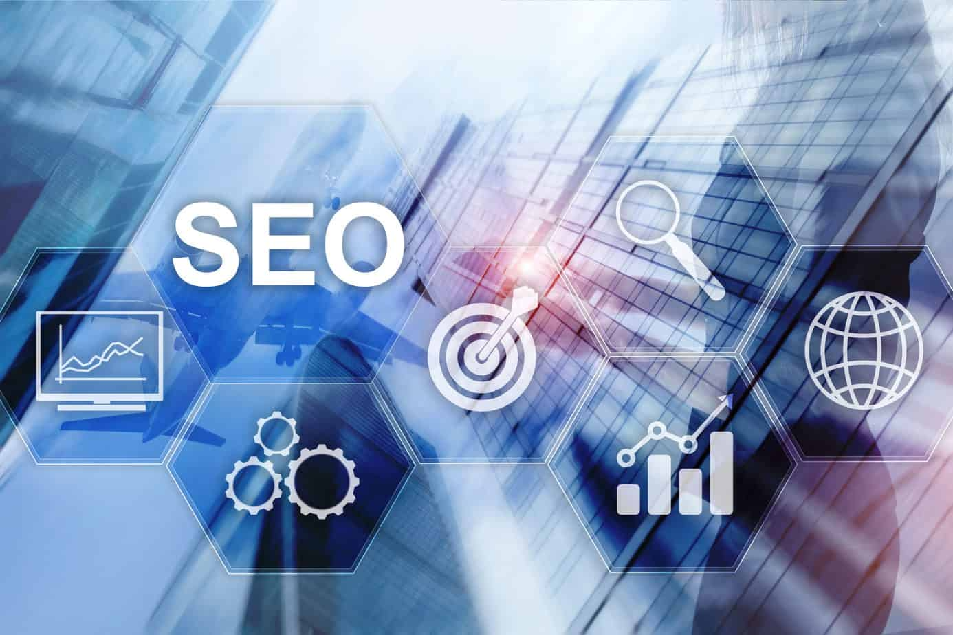 SEO - Search engine optimization, Digital marketing, and internet technology concept on blurred background