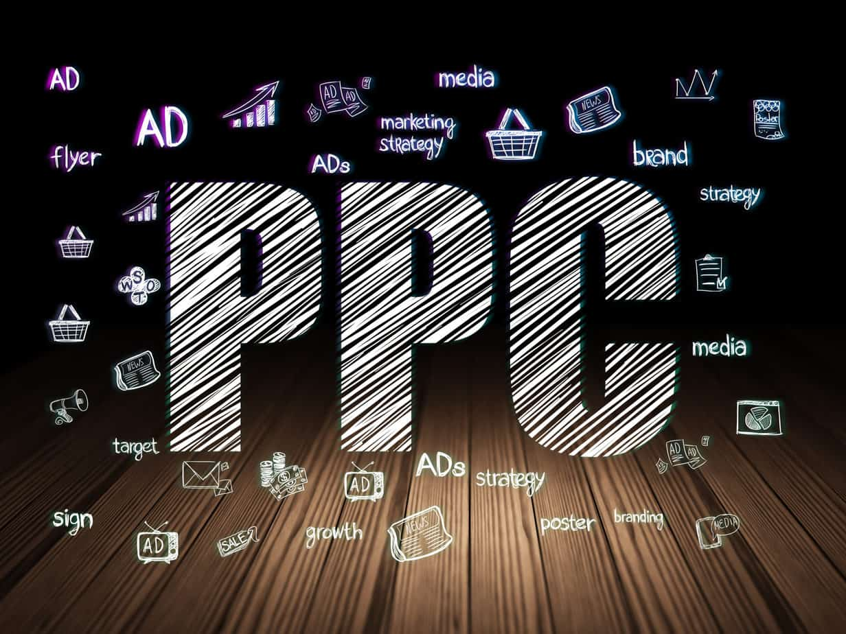 Advertising concept: Glowing text PPC, Hand Drawn Marketing Icons in grunge dark room with Wooden Floor, black background