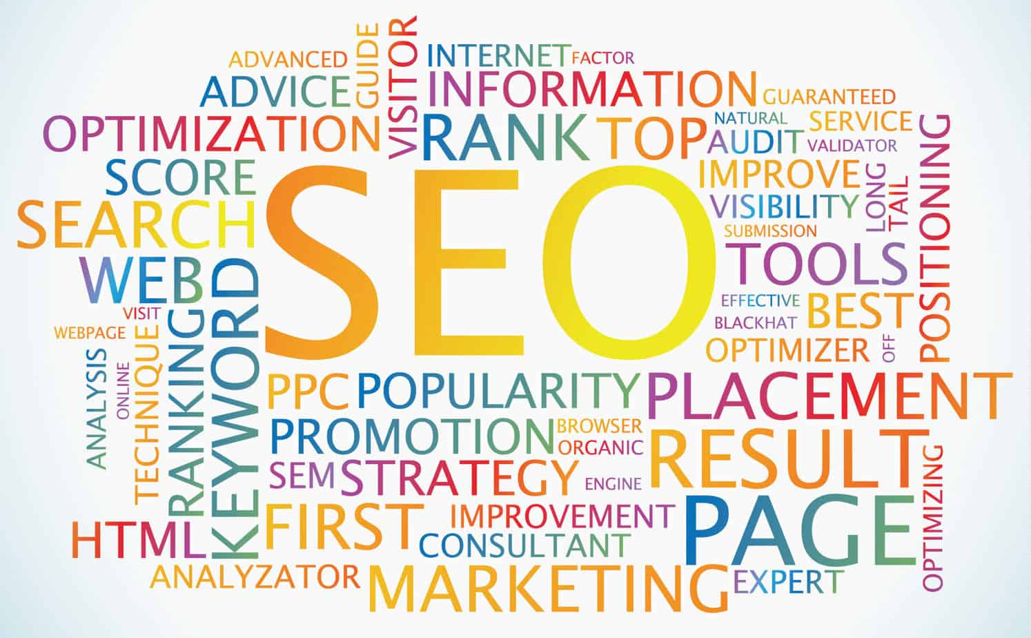 SEO Colorful word collage of SEO strategies