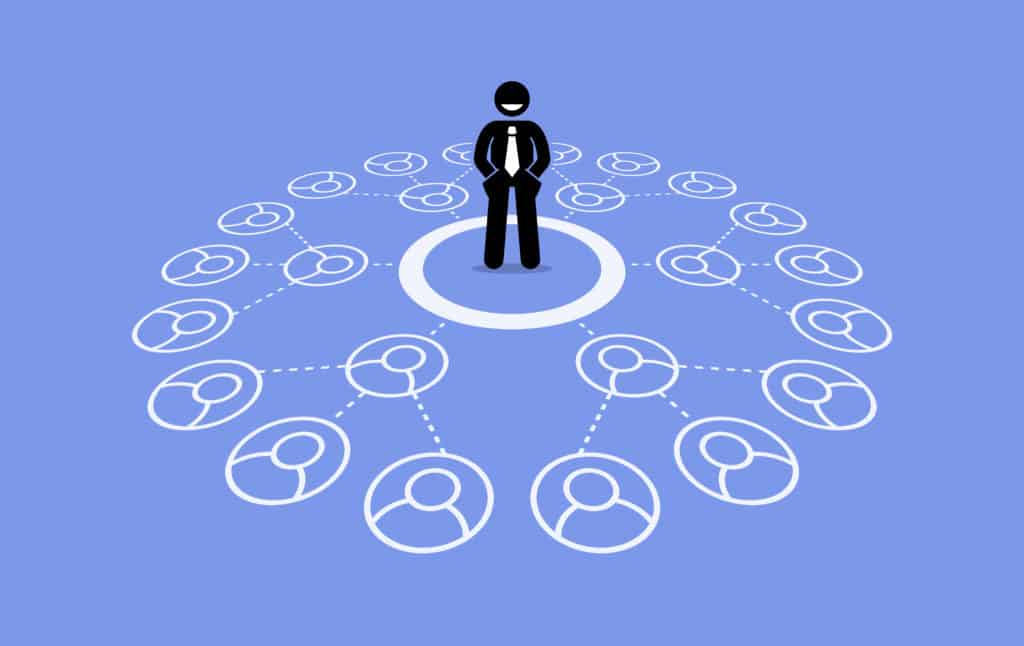 Image of a man standing in a circle connected by networking circles