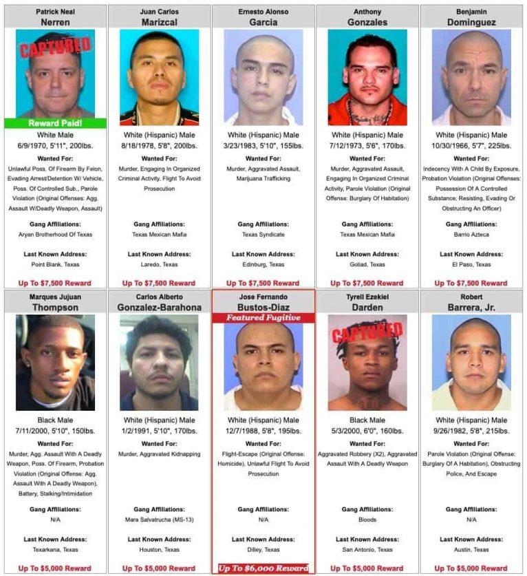 Texas Most Wanted Criminals