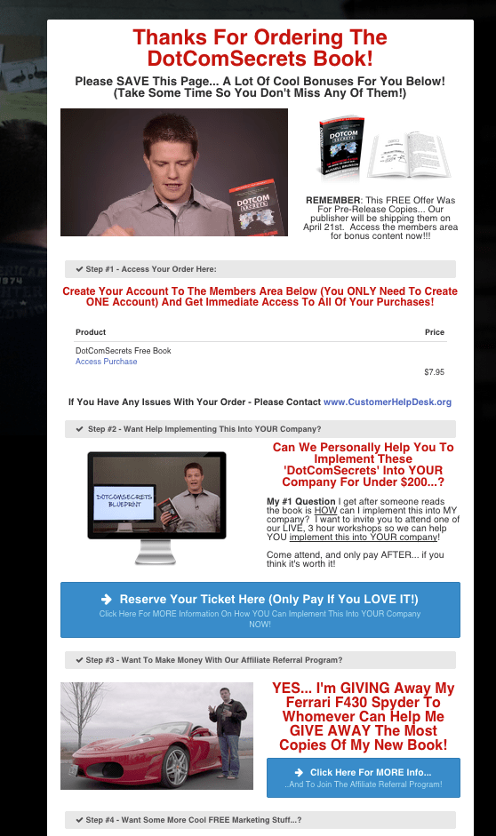 DotCom Secrets Book Thank You Page