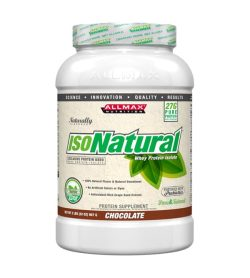 White container with light brown label of Allmax Isonatural Whey Protein Isolate with Chocolate flavour contains 907 g 2 lbs