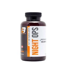 Brown bottle with white and orange label of Ballistic Fat Metabolizer Night OPS contains 125 capsules