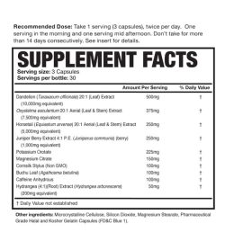Supplement facts and ingredients panel of Magnum Drip Dry for a serving size of 3 capsules with 30 servings per bottle