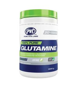White, blue and green container with green cap of PVL 100% pure Glutmaine contains 1200 g