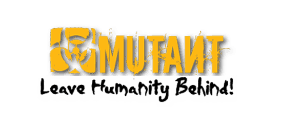 Mutant supplements logo yellow font and yellow square with hazard style graphic grungy text with tag line leave humanity behind!