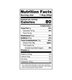 Nutrition facts panel of Smart Sweets Berry Sweet Fish for serving size of 1 bag (50 g)