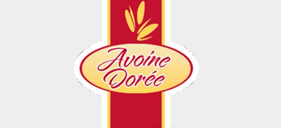 Avoine Doree logo red cursive font yellow background red stripe