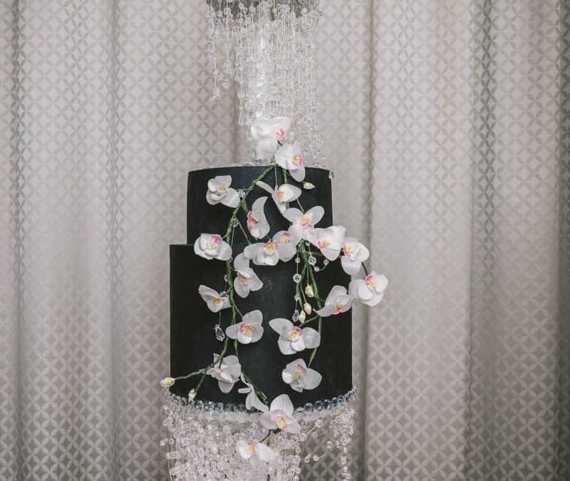 Swarovski Crystal and Orchid Wedding Cake