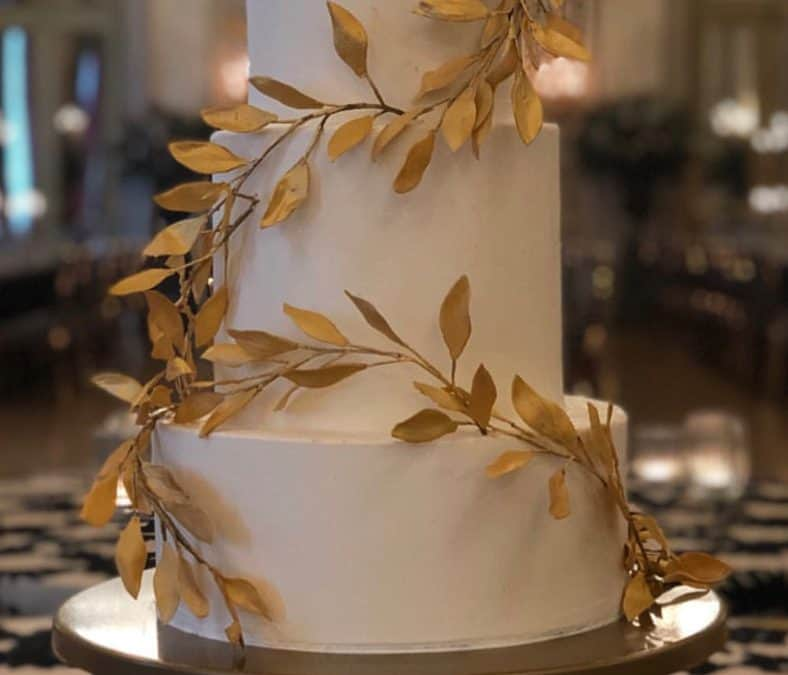 Buttercream and Gold Branch Cake at St. Regis