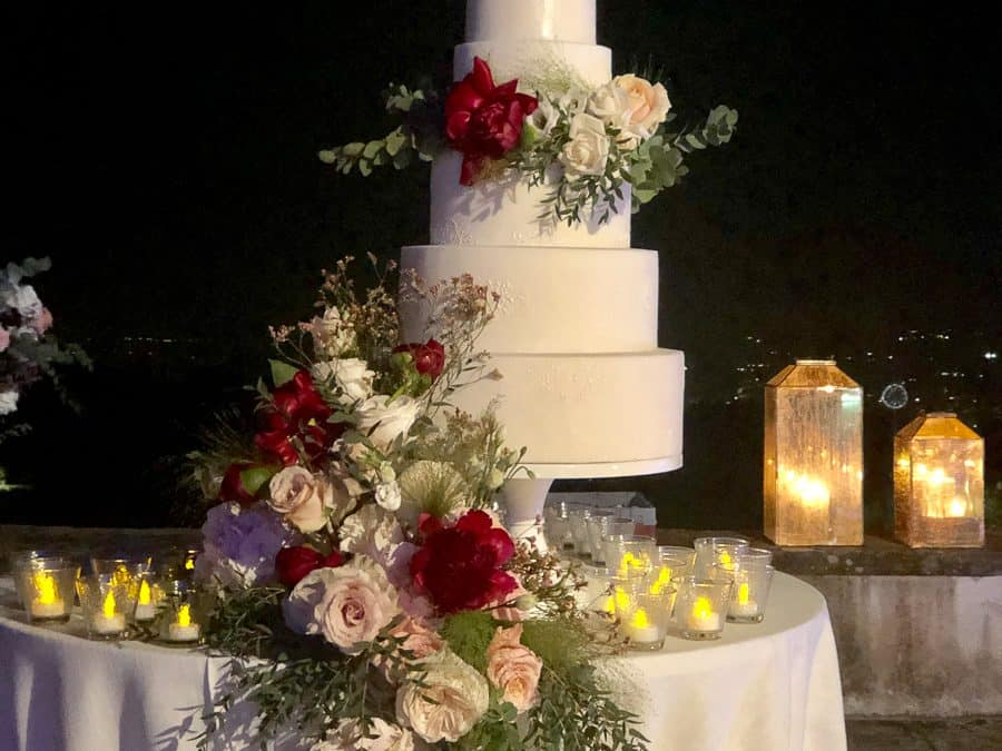 Luxurious Floral Wedding Cake at Villa di Maiano