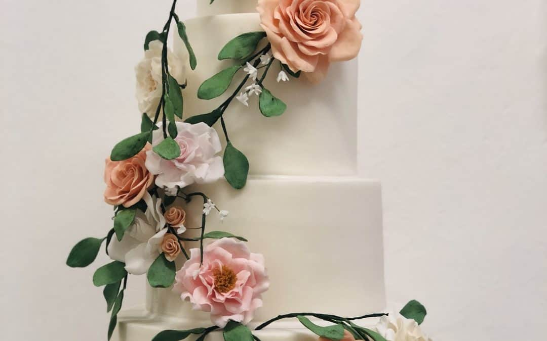 Tuscany Rose Garden Inspired Wedding Cake