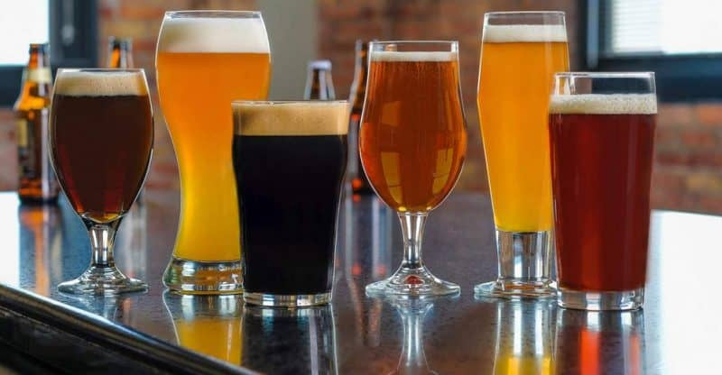types of beer glasses on bar