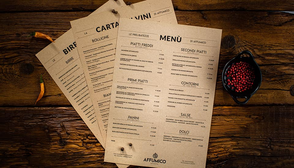 menu Ristorante Affumico Bologna