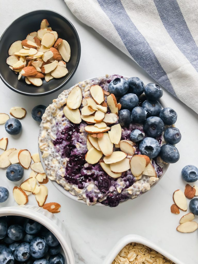 Blueberry Almond Overnight Oats with Blueberry Chia Jam in a bowl