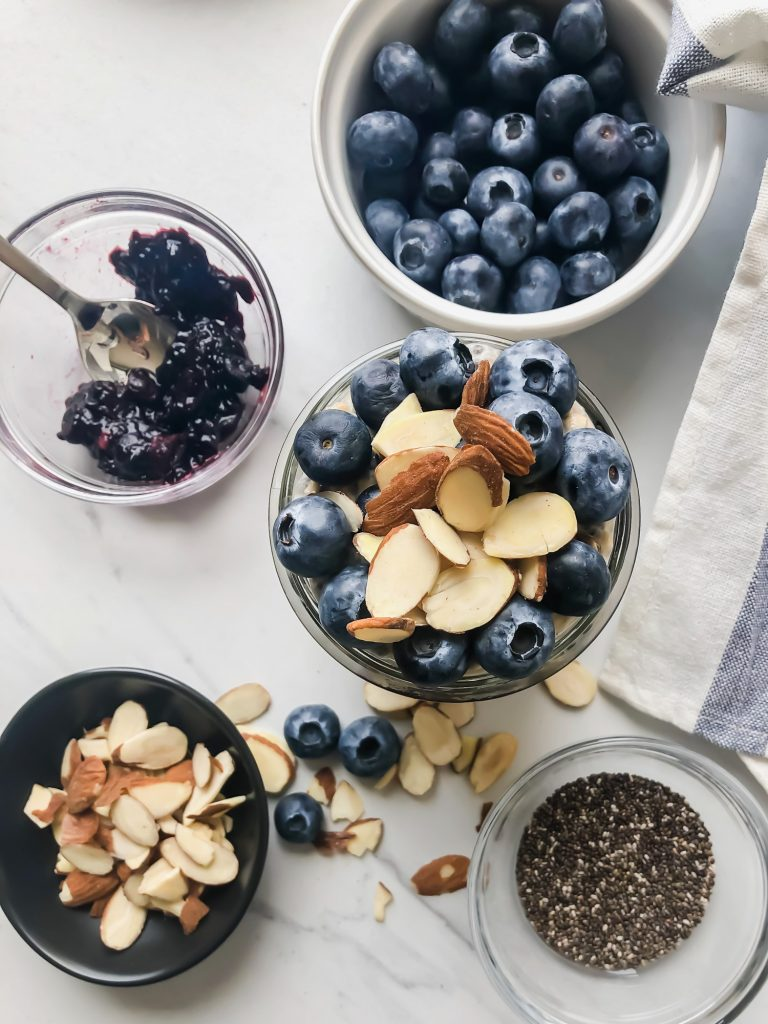 Blueberry Almond Overnight Oats with Blueberry Chia Jam in a Jar