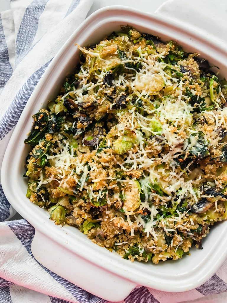 Kale and Mushroom Quinoa Bake in a baking dish