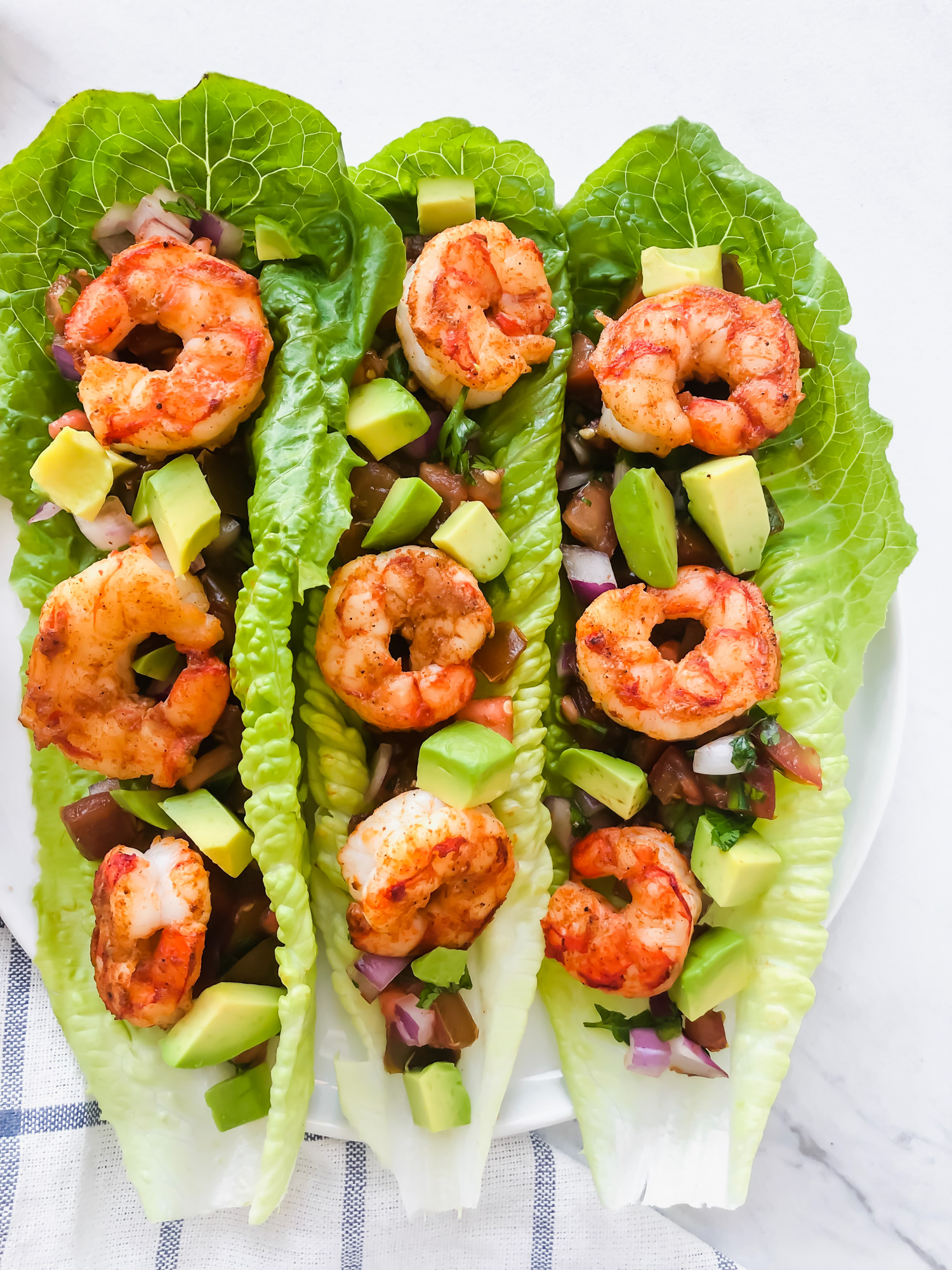 Shrimp Taco Lettuce Wraps on a plate