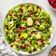 Lemon Parmesan Shaved Brussels Sprout Salad in a bowl