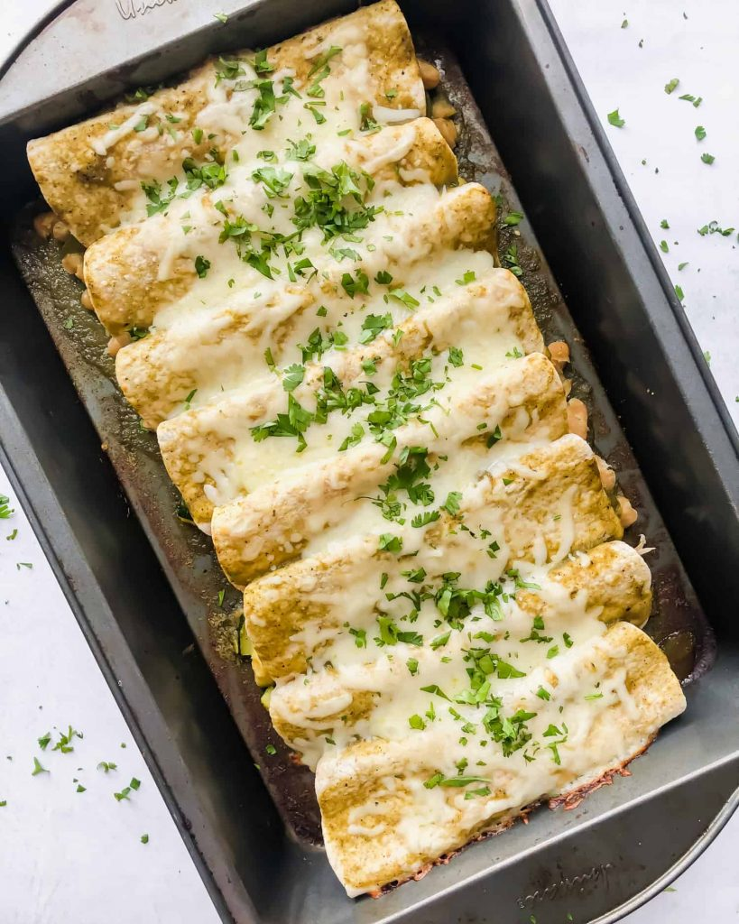 Vegetarian Enchiladas Verdes (Green Enchiladas) in a baking dish