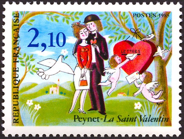special stamp issued by the village of Saint-valentin by French cartoonist Raymond Peynet