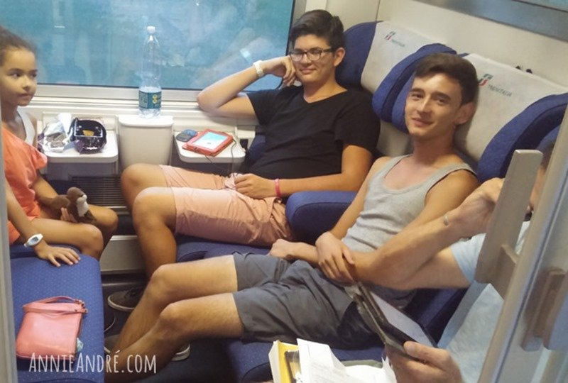 Train compartment on one of the many trains we rode across Europe. You can close the door for complete privacy.