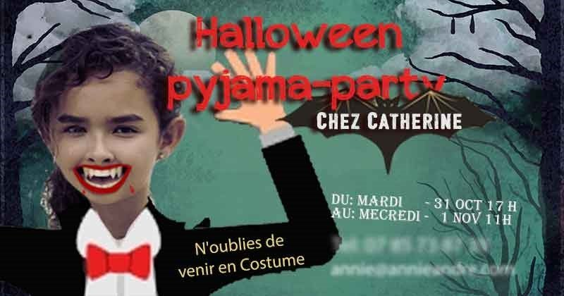 Halloween trick-or-treat party invitation in French