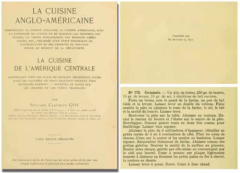 photo of Sylvain C Goy book which mentions the first modern day croissant recipe in 1915