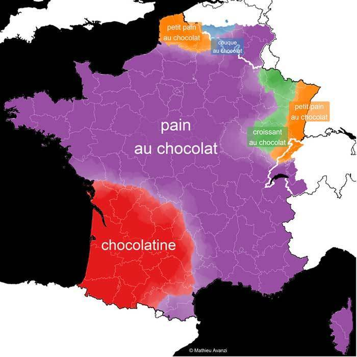 Map of France showing the different names for chocolate croissants across France